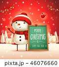 クリスマス ゆきだるま 標識のイラスト 46076660