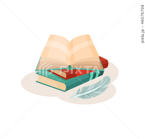 Vintage quill pen and open book, symbols of retro writing, science and knowledge vector Illustration 46076708