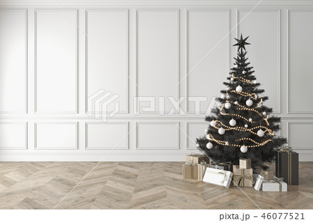 Black christmas tree in classic room, blank white wall, gifts. 46077521