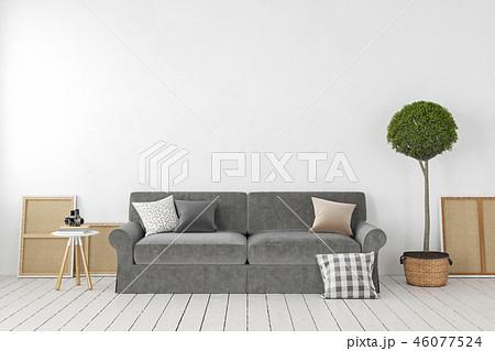 Empty white interior, blank wall with sofa, plant, tree, pillows. 46077524