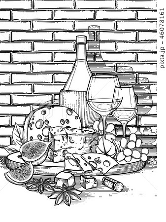 Graphic wine glass and bottle decorated with delicious food 46078161