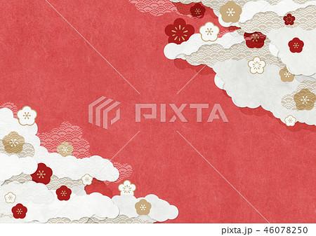 和モダンな背景素材 和紙の風合い 梅 赤色 46078250