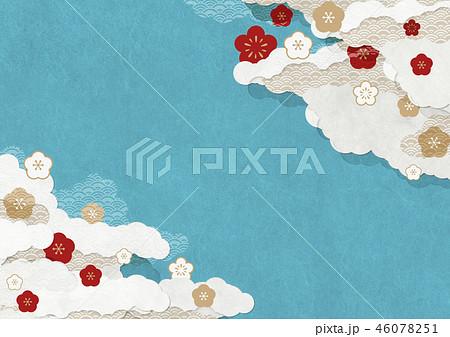 和モダンな背景素材 和紙の風合い 梅 青色 46078251
