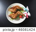 皿にのった二本のクリスマスチキン 46081424