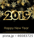 Happy New Year greeting card. 2019. Vector. 46083725