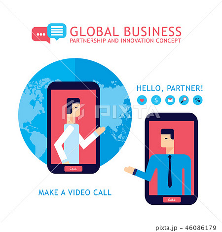 Businessman making video call to partner 46086179