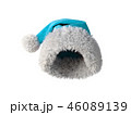 Santa Claus blue hat isolated on white background 3D rendering 46089139