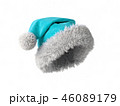 Santa Claus blue hat isolated on white background 3D rendering 46089179