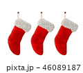 Three Christmas stocking isolated on white background 3D rendering 46089187
