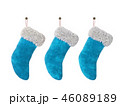 Three Christmas stocking isolated on white background 3D rendering 46089189