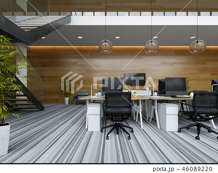 Interior modern open space office 3D illustration 46089220
