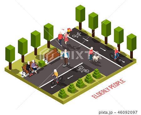 Elderly People Isometric Composition  46092097