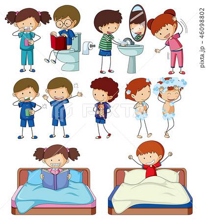 Set of doodle kids character routine activities 46098802