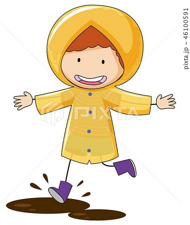 Doodle kid wearing raincoat 46100591