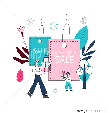 Vector flat man and boy kids with shopping bags 46111393