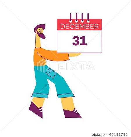 Vector stylized man holding 31 december calendar m 46111712