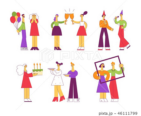 Celebrating vector illustration set with various flat people at holiday party. 46111799