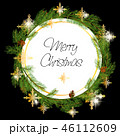 Christmas Wreath Made of Naturalistic Looking Pine Branches Decorated with Gold Stars and Bubbles. 46112609