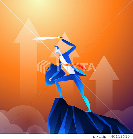 Flat isometric vector concept. A businessman that looks like a superhero is showing sword on 46115519