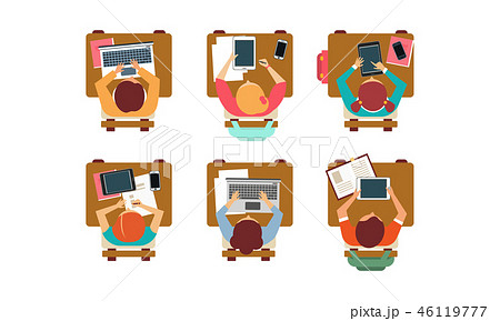 Flat vector set of students sitting behind desks, top view. Pupils of school or university 46119777