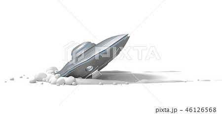 3d rendering of silver metal ufo crash landing isolated on white background 46126568