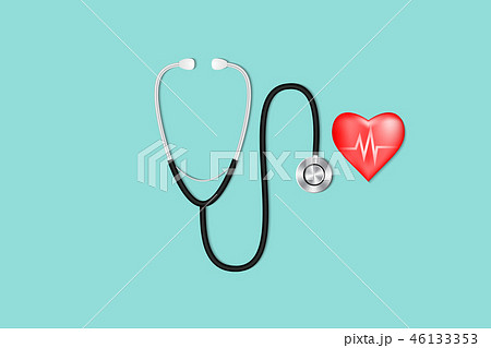Healthcare concept, Stethoscope and red heart 46133353