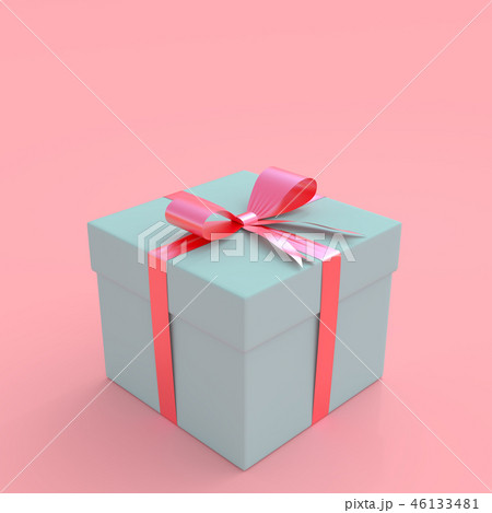 Blue gift box on pink pastel background 46133481