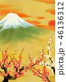 満開の梅と富士山 46136312