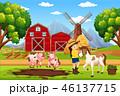 牧舎 納屋 農場のイラスト 46137715