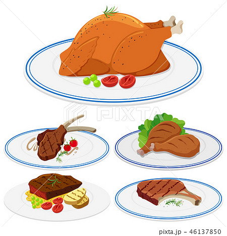 Set of meat food on plate 46137850