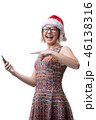 女性 サンタの帽子 サンタ帽の写真 46138316