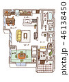 家の内面図(文字・こたつあり) 46138450