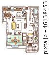 家の内面図(人物・文字あり) 46138453