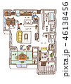 家の内面図(人物・文字・こたつあり) 46138456