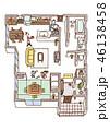 家の内面図(人物・こたつあり) 46138458