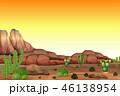 砂漠 夕日 夕焼のイラスト 46138954