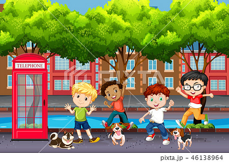 Playful children in town 46138964