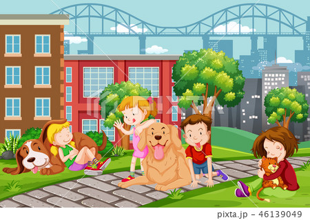 Children with pet at the park 46139049