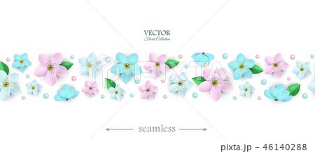 Vector spring white flowers with stems poster 46140288