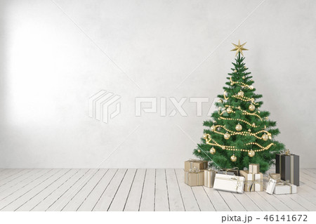 White blank wall empty interior with christmas tree and gifts. 46141672