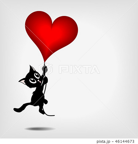 black kitty holding big red heart 46144673