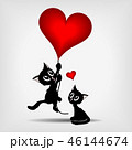 two black kittens and red heart-balloons 46144674