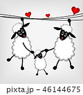 two sheep with red hearts 46144675