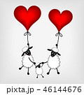 two sheep with red hearts - balloon and lamb  46144676