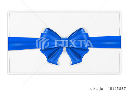 Greeting card wrapped with blue ribbon. With silk bow 46145887