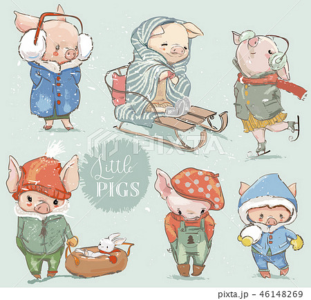 cute lovely cartoon pigs collection 46148269