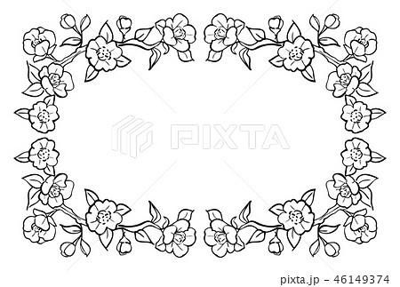 椿のフレーム 手描き 黒1色のイラスト素材 46149374 Pixta