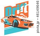 車 自動車 ドリフトのイラスト 46149646