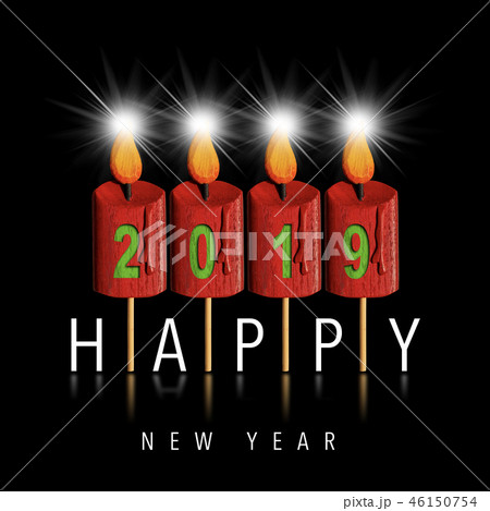 Happy New Year 2019 - Four Wooden Candles 46150754