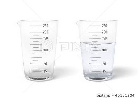 3d rendering of two measuring cups one half filled with transparent liquid isolated on white 46151304